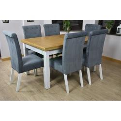 Zes. 16 (Stół Szymon + Krzesła Tapicerowane Chesterfield)