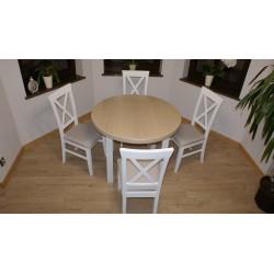 Stół okrągły+4 krzyżak