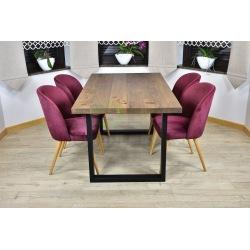 Stół Loft Magnus + 4 krzesła tapicerowane Muszelka