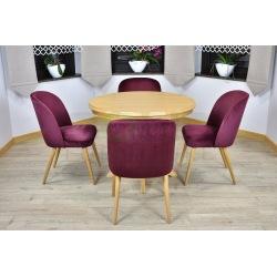 Stół okrągły Ventus + 4, 6  krzeseł Muszelka