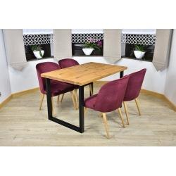 Stół loft Liza + 4, 6 krzeseł Muszelka