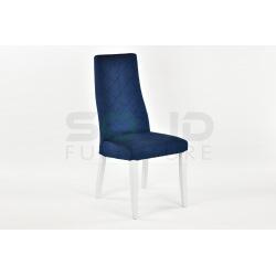 Krzesło tapicerowane Łucja przeszycia, białe nogi