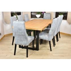 Stół loft Mediolan + 8 krzeseł Łucja karo