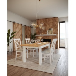 Stół biały craft złoty + 4 krzesła Krzyżak