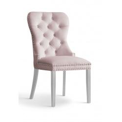 Krzesło glamour Madeline srebrne noga dąb