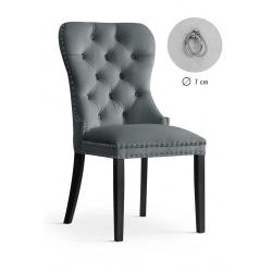 Krzesło glamour Madeline szare noga dąb