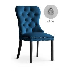 Krzesło glamour Madeline granatowe z małą kołatką