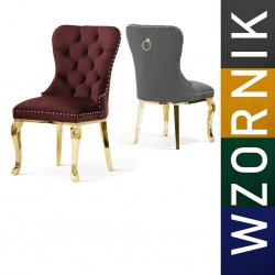 Krzesło glamour Madeline Black noga złota Ludwik