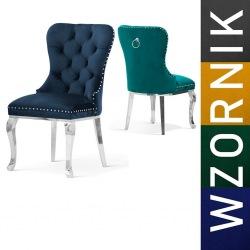 Krzesło glamour Madeline Black noga srebrna Ludwik