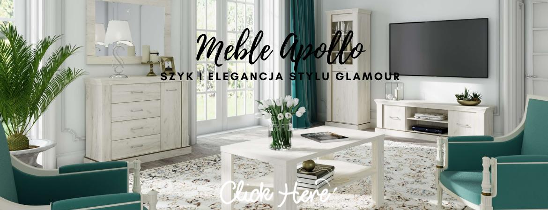 Meble glamour do salonu Apollo craft biały